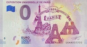 BILLET-0-EURO-EXPOSITION-UNIVERSELLE-DE-PARIS-FRANCE-2019-NUMERO-2200
