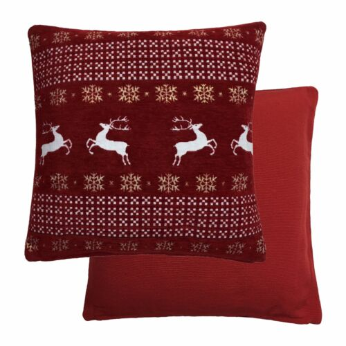 2 x Christmas Dancing Reindeer Snow Flakes Red Chenille 43.2cm 43CM Pillow