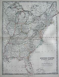 1868 LARGE VICTORIAN MAP : UNITED STATES OF NORTH AMERICA EASTERN ...