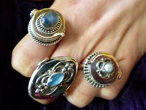 Beautiful-Poison-Pill-locket-rings-925-silver-ring-NEW-Labradorite-Pearl-Topaz