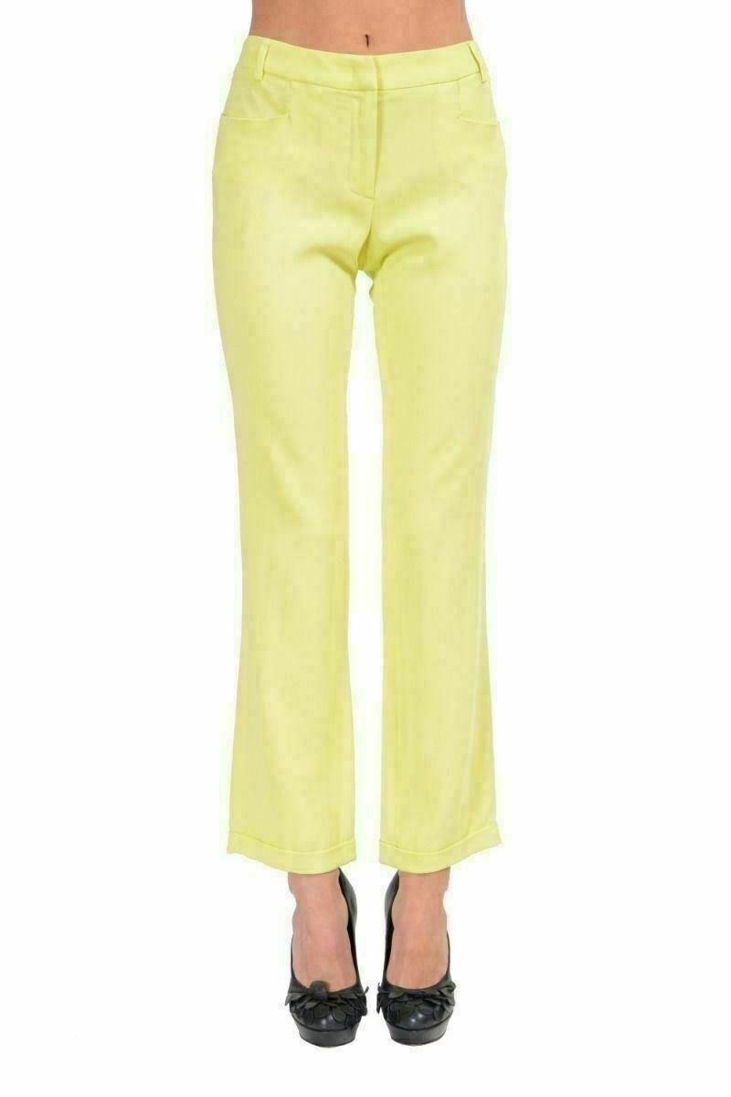 Just Cavalli Women's Light Green Cropped Casual Pants Capri US 4 IT 40