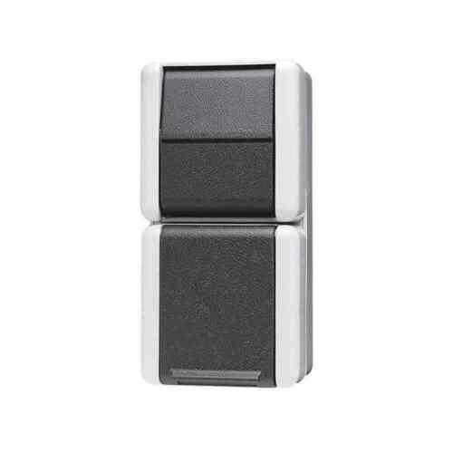 JUNG Schalter-Steckdosen-Kombination 876W Aufputz Steckdose Wechselschalter grau