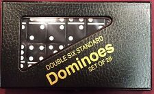 Black Standard Double Six Dominoes  w/ Black Case and FREE Shipping