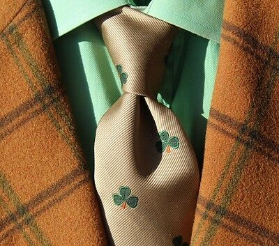 Briar Pride of England Gentleman's Taupe & Green Lucky Shamrock/ Clover Poly Tie