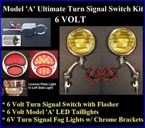 1928 31 ford 6 volt ultimate turn signal kit fog lights. Black Bedroom Furniture Sets. Home Design Ideas