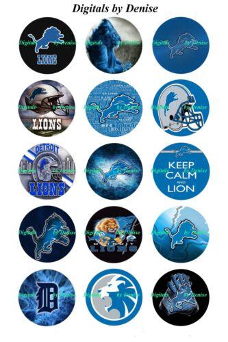 """$2.45-$5.50  *****FREE SHIPPING**** DETROIT LIONS 1/"""" CIRCLES  BOTTLE CAP IMAGES"""
