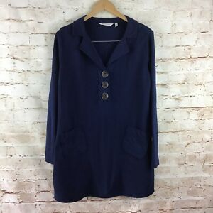 Soft-Surroundings-Women-039-s-Blue-Take-Two-Thermal-Waffle-Knit-Tunic-Medium