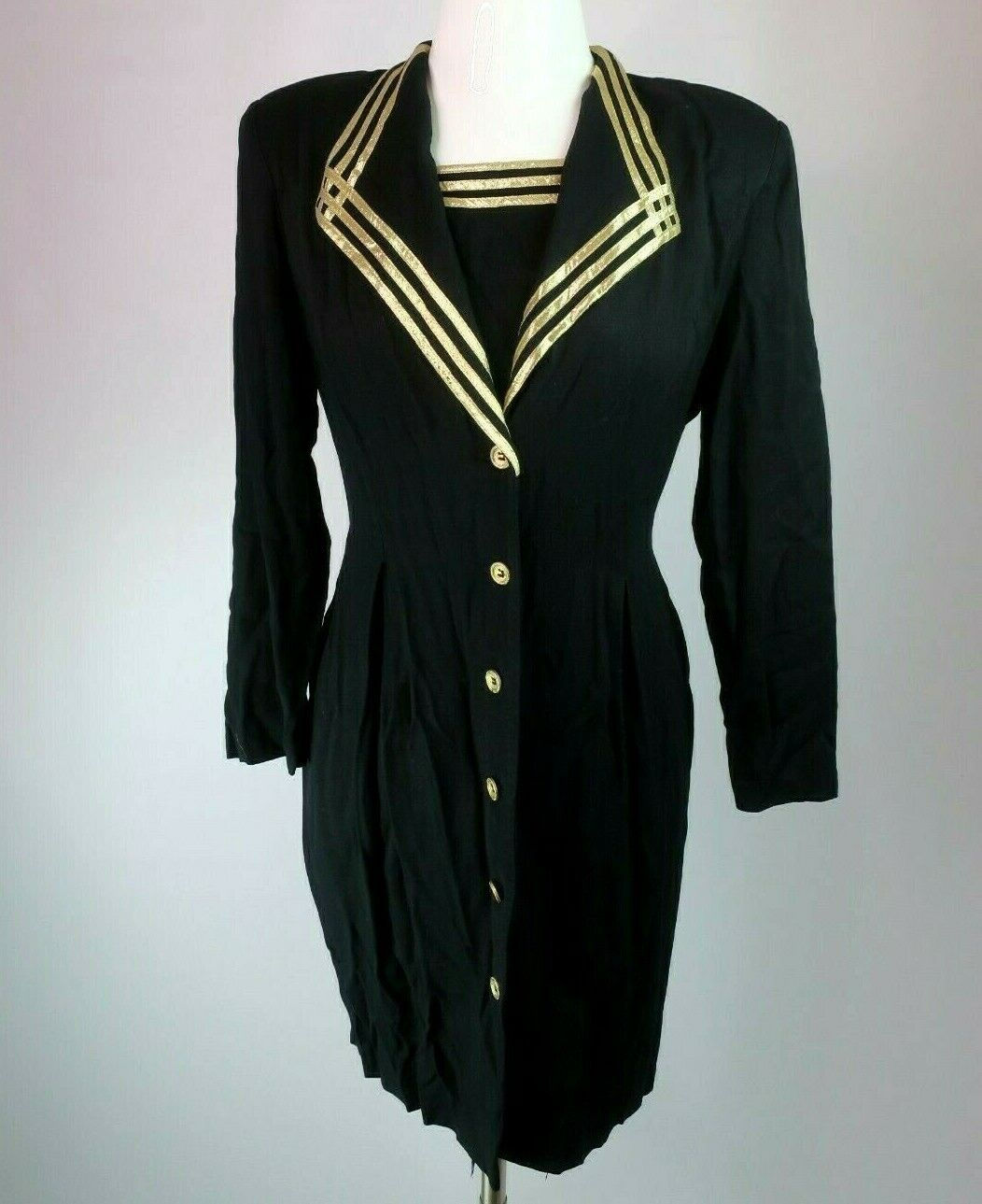 SL Fashions VTG 80s Metallic Gold Tuxedo Party Prom Evening Dress Sz 14 Military