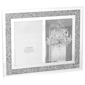 GLAMOUR MIRRORED CRUSHED CRYSTAL DIAMOND,DOUBLE PHOTO FRAME,TWO 6X4 PHOTO SILVER