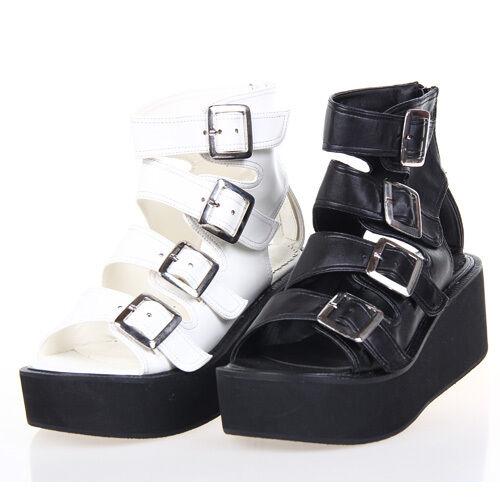Gothic Goth Lolita Schuhe Schuhes Sandale Sandale Pumps Plateau Cosplay Kostüm