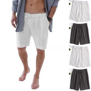 Men-039-s-Half-Pants-Linen-Drawstring-Combat-Beach-Shorts-100-Cotton-Sea-Trousers
