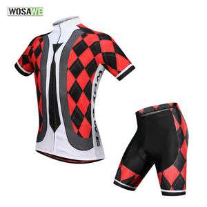 Mens-Cycling-Sets-Short-Sleeve-Jersey-Shorts-Padded-Suit-Breathable-Elastic-Tops
