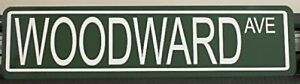 "METAL STREET SIGN "" WOODWARD AVE ""  Dream Cruise DETROIT GTO HEMI R/T"