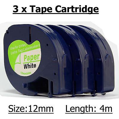 3 Rollen White Label Tape 91200 für Dymo Letratag S0721510 12mmx4m Dymo Letratag