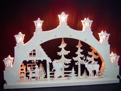 2D Schwibbogen Lichterbogen Weihnachtsabend Original Erzgebirge 52 x 32 cm 10554