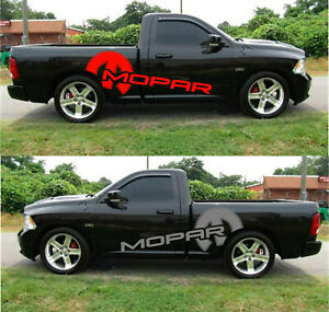 2 Dodge Mopar Truck Bed Stickers Decal HEMI Outline