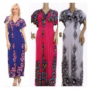 Boho Maxi Dress Beach Lounge Deep V Neck /& Back 4 Colors Size 6-16