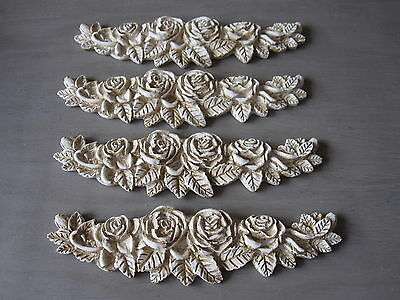 FOUR  SHABBY CHIC VINTAGE ROSE DECORATIVE FURNITURE OPAQUE  SWAG MOLDINGS.