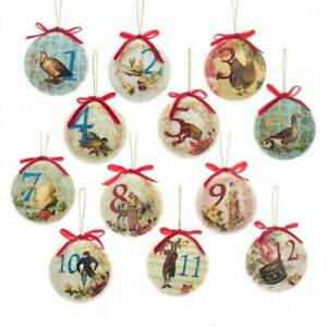 Twelve Days Of Christmas Ornaments.Details About Kurt Adler Christmas Ornament 12 Days Of Christmas Decoupage Disk 85mm