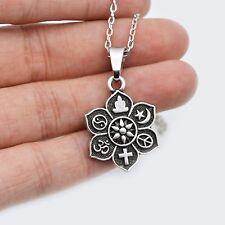 Tibetan Silver Coexist OM Lotus Religious Belief Necklace