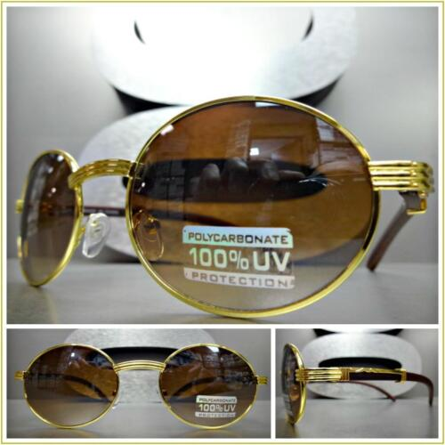 Men/'s CLASSIC VINTAGE RETRO Style SUN GLASSES Classy Oval Gold Wood Wooden Frame