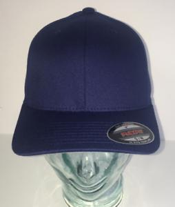 BRAND NEW NAVY BLUE FLEXFIT PLAIN STRETCHFIT BASEBALL CAP HAT VARIOUS SIZES