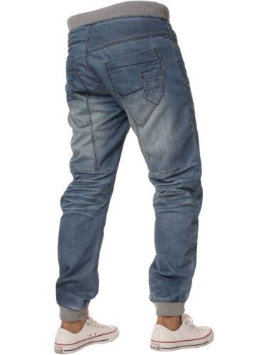 Enzo Mens Designer Cuffed Jogger Jeans Elasticated Denim Pants All Waist Sizes