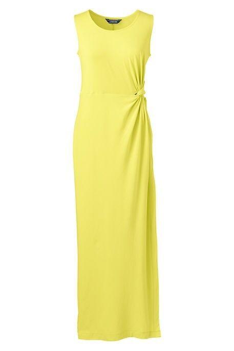 Lands End Woherren Sleeveless Knot Waist Maxi Dress Gelb Glow New