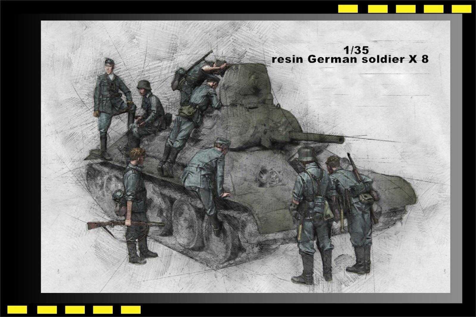 1 35 WWII German Soldier inspect T-34 1941 (8 resin figures) Fast bid
