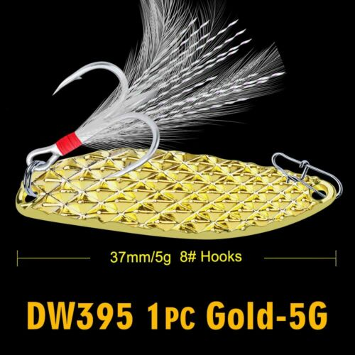 1pc Spoon Fishing Lure 28g-20g-15g-10g-5g Metal Spinner Bait Feather Hook Bass