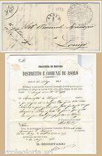 LOMBARDO VENETO - STORIA POSTALE - BUSTA in FRANCHIGIA da ASOLO 1873 - lions