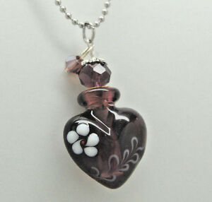 Cremation jewelry purple glass cremation urn necklace heart memorial image is loading cremation jewelry purple glass cremation urn necklace heart aloadofball Image collections