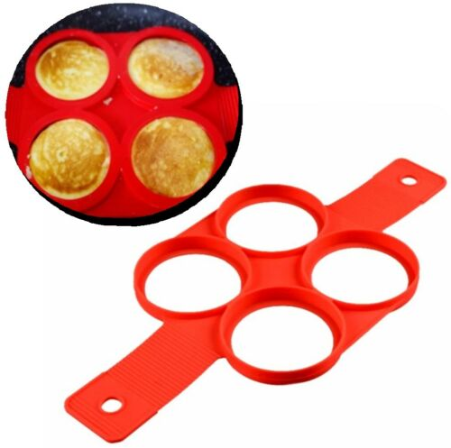 Crêpes Maker Pancake œuf Maker 4 environ forme anneaux Silicone Spatule