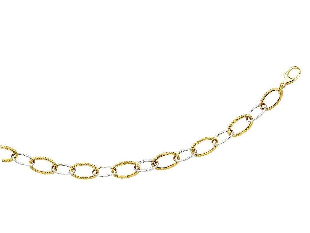 14k Yellow White gold Alternating Shiny Textured Oval Link Chain Bracelet
