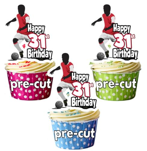31st Birthday Mens Football Themed Edible Cup Cake Toppers Decorations Precut