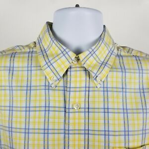 Brooks-Brothers-Country-Club-Mens-Yellow-Blue-Check-Dress-Button-Shirt-Sz-Large