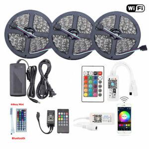 1-10M-5050-RGB-SMD-Waterproof-LED-Strip-Lights-Bluetooth-WiFi-Remote-12V-Power