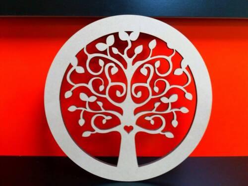 Mdf family tree cercle 20cm 4mm avec 6 x 3cm coeurs libre par arbre
