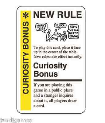 "FLUXX CARD GAME ""Curiosity Bonus"" promo card Looney Labs NEW"