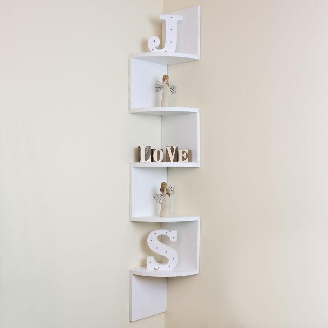 35678ace104 5 Tier White Wall Mounted ZigZag Corner Floating Shelf Shelves Display Wood  Unit