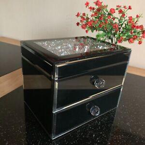 Détails sur 2 TIROIR Bijou Strass Miroir Boîte à Bijoux Boîte de Rangement  Poitrine Bijou Noir- afficher le titre d\'origine