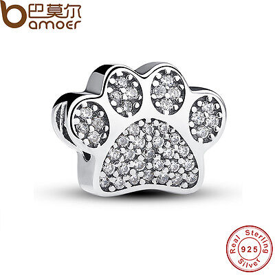 New Authentic S925 Sterling Silver Sweet Charm Paw Prints, Clear CZ Fit Bracelet