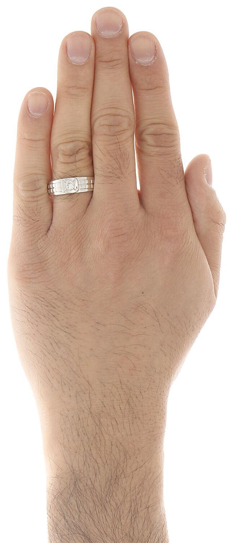 14k rossoondo in oro Bianco Fede Nuziale con Diamanti 7.5mm 7.5mm 7.5mm Lunetta Set Step Stelo 8e9713