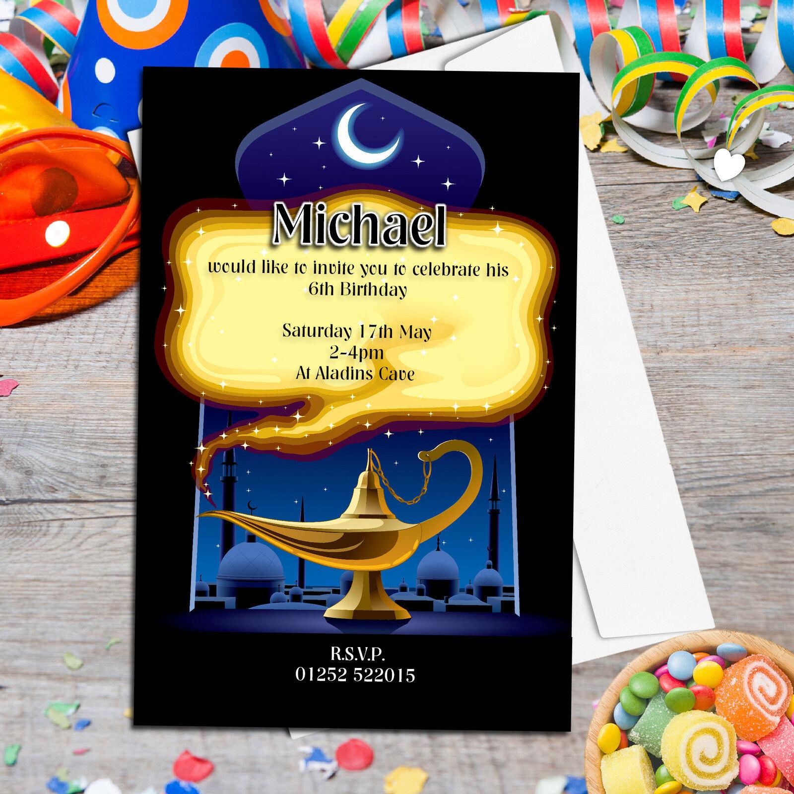 Personalised Girls Boys Aladdin Style Magic Birthday Party Invitations N93