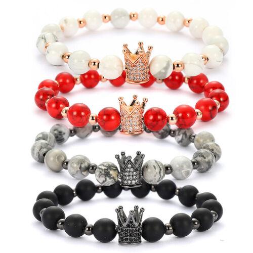 Punk Charme Stone King Crown Bracelet hommes femmes givré Pierre Perle Bracelets cadeau