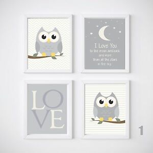 Image Is Loading Owl Nursery Room Prints Kids Wall Decor