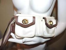 Coach Off White Nylon Brown Leather Double Turn Lock Pocket Wristlet Handbag