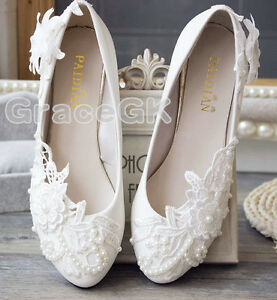 69e50d690f7 Details about Lace Gem white ivory crystal Wedding shoes Bridal flats low  high heel pump size