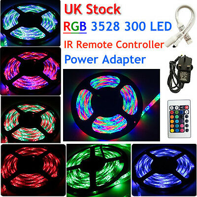 5M 300LEDs 3528 RGB SMD LED flexible strip rope light Car Home Garden +Adapter