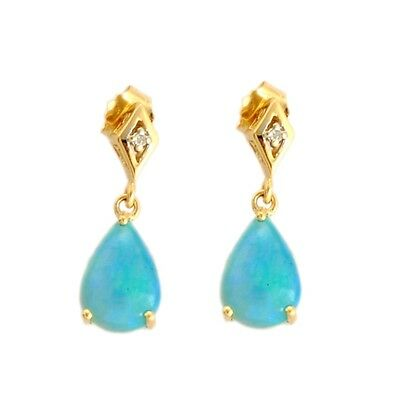 TURQUOISE ETHIOPIAN OPAL 2.00 CT & DIAMOND EARRINGS IN 10 KT SOLID YELLOW GOLD
